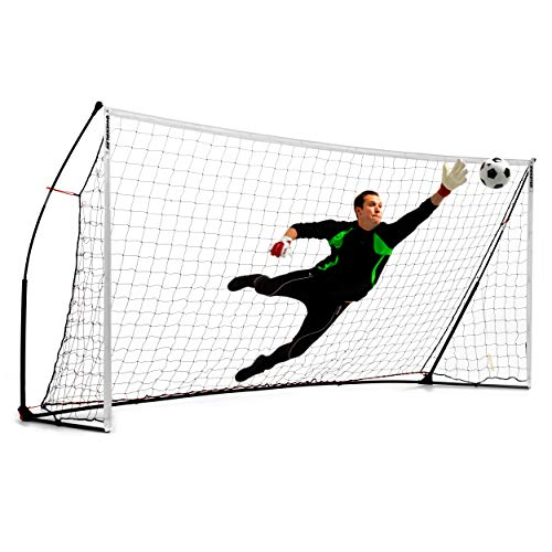 QuickPlay Kickster Academy Soccer Goal 16x7' - Ultra Portable Soccer Goal Includes Soccer Net and Carry Bag [Single Goal] Now Available in The US for The First time.