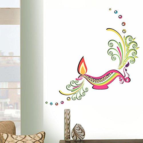 Decals Design 'Diwali Diya' Wall Sticker (PVC Vinyl, 45 cm x 60 cm)