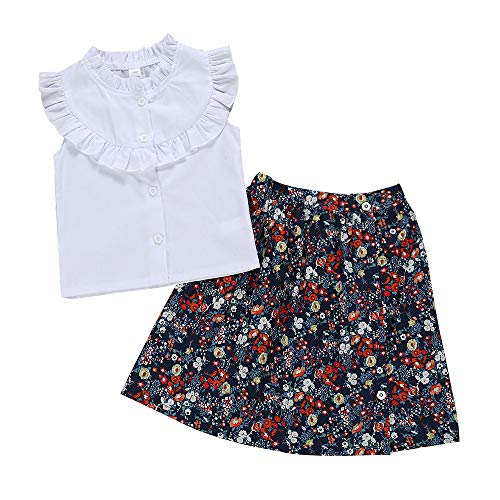 Kids Baby Girls Outfits Floral Ruffle Off Shoulder Crop Tops + Bowknot Denim Shorts Skirt Set Toddler Summer Clothes (Floral Blue, 2-3 Years)