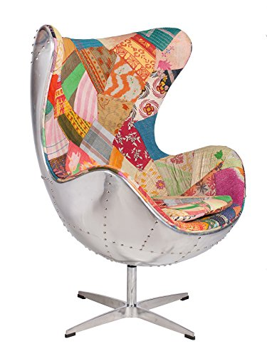 Hand-Hammered Aviator Aluminum Mid Century Modern Classic Arne Jacobsen Style Egg Replica Lounge Chair With Premium Vintage Kantha Fabric Fiberglass Inner Shell and Polished Aluminium Frame