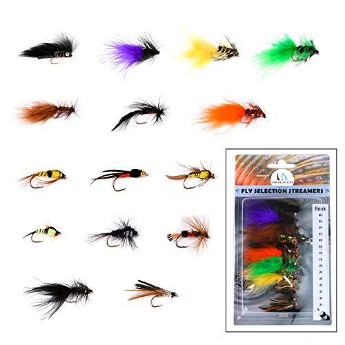 M MAXIMUMCATCH Maxcatch Fly Fishing Flies Kit Fly Assortment Dry/Wet Flies, Nymphs, Streamers, 15PCS Handmade Fly Fishing Lures (Streamers Flies Assortment 15PCS)