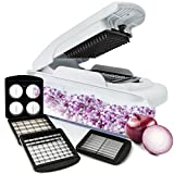 Vegetable Onion Food Chopper Pro - Slicer Dicer for Fruit Onions and Other Vegetables | 4 Interchangeable Stainless Steel Blades with Food Container and Non Skid Base by Fullstar