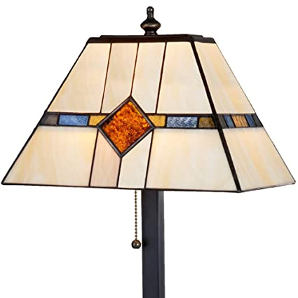 J Devlin Lam 656 TB Stained Glass Mission Table Lamp Amber Blue Brown  Desktop