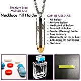 "Titanium Pill Fob With 25"" x 3.2mm Wide Stainless Steel Necklace for EDC Travel Pills, Extra Chamber at Tip for Anti-Mosquito Bar(Included), Light Weight Pill Holder Inner Depth 1.16'', Waterproof 30ft"