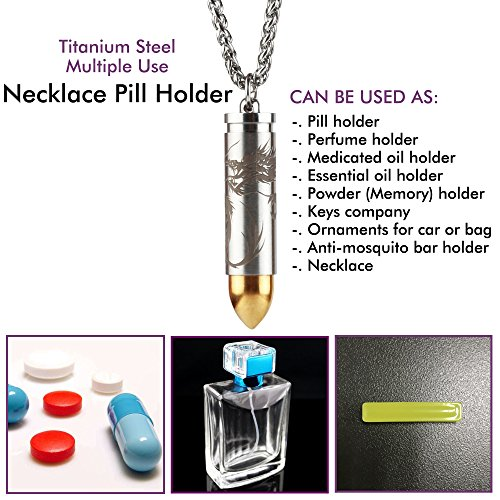 """Titanium Pill Fob Holder Container with 25"""" x 3.2mm Wide Stainless Steel Necklace for EDC Travel & Outdoor Pills, Extra Chamber at Tip for Anti-Mosquito Bar (Included), Waterproof 30 Ft by ANO"""