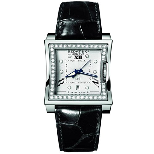 Bedat No (Bedat & Co Women's No.1 Diamond 40mm Black Leather Band Steel Case Automatic Analog Watch 118.030.109)
