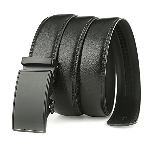 Men's Solid Buckle with Automatic Ratchet Leather Belt 35mm Wide by Guravio (Image #1)