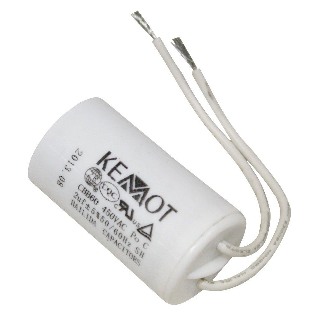 Aerzetix - Condensatore di marcia e avviamento motori elettrici monofase 450V da 6, 3mm a 2µ F 3mm a 2µF C3313