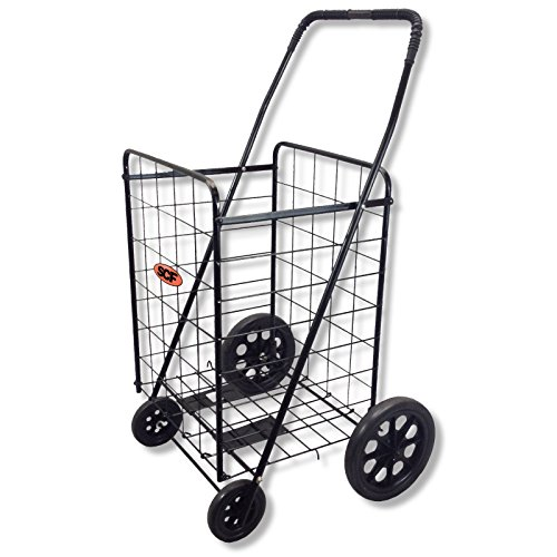Extra Large Folding Shopping Cart Basket 4 Wheel Jumbo WITH FREE LINER AND CARGO NET by SCF (Black with Blue Liner)