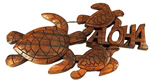 3 Honu / Turtle Aloha Hand Carved Wooden Wall Plaque