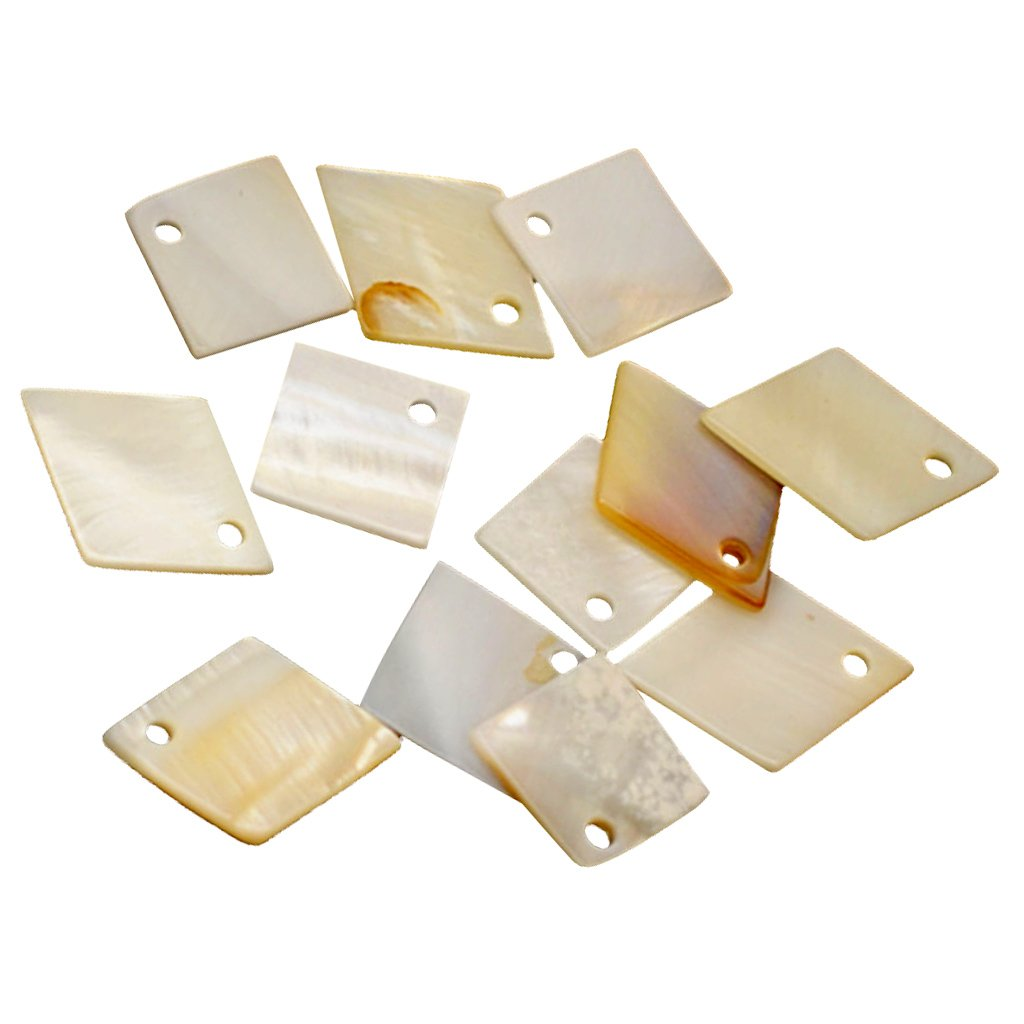 MagiDeal 12pcs MOTHER OF PEARL Shell Charm Beads Square Diamond Shapes for Pendant Earring Bracelet Making