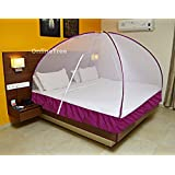 OnlineTree Double Bed Foldable Mosquito Net (PURPLE) (SIZE-6*6)