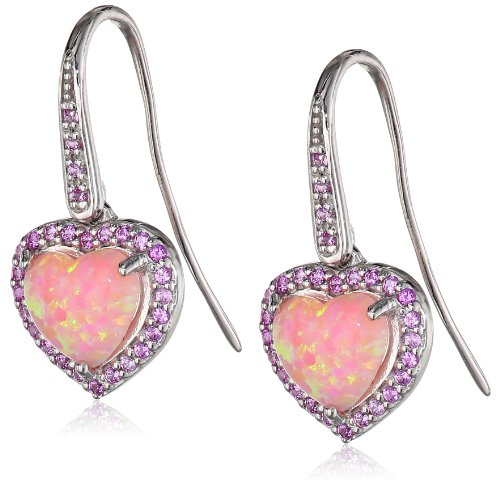 Simulated Opal and Created Pink Sapphire Heart Hook Earrings in Sterling Silver