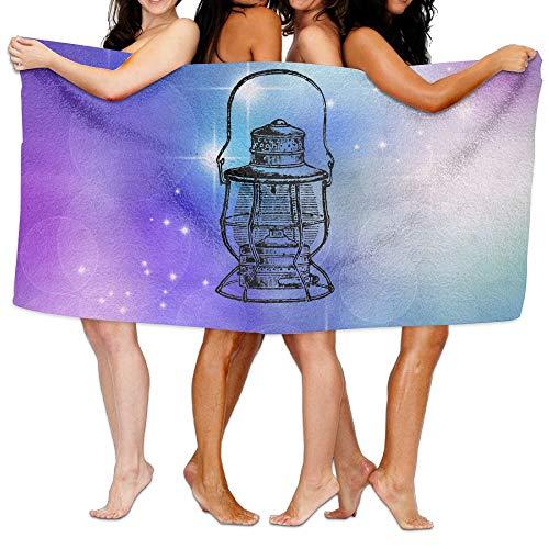 Buecoutes Bath Towel Oil Lamp Designed Thick Large Swim Beach Towels -