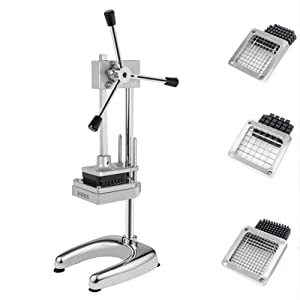 ROVSUN Commercial Grade French Fry Cutter with Rudder Stock Lever,Stainless Steel Vertical Fruit Vegetable Potato Slicer,Including Suction Feet,1/2-Inch,3/8-Inch,1/4-Inch Blades & Pusher Blocks