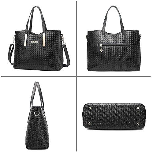 Tibes Fashion PU Leather Women Handbag+Shoulder Bag+Purse 3pcs Bag Weave  Tote d07ba08bde238