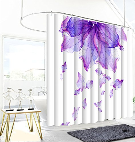 Shower Curtain Rain of Lilac Flowers Art Print Polyester Fabric Curtains For Bathroom Mold and Mildew Resistant Waterproof Machine Washable Extra Long W 72