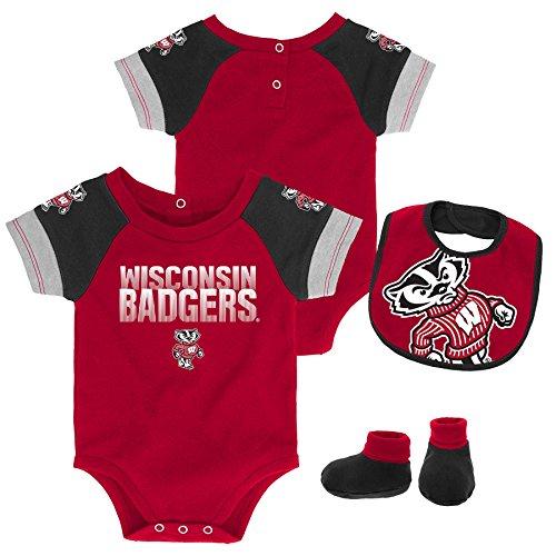 Gen 2 NCAA Wisconsin Badgers Newborn & Infant 50 Yard Dash Bib & Bootie Set, 6-9 Months, Dark Red