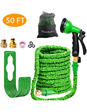 Zicosy Garden Hose-50ft Expandable Hose - Heavy Duty Flexible Leakproof Hose - 8-Pattern High-Pressure Water Spray Nozzle & Bag & Plastic Holder.No Kink Tangle-Free Pocket Water Hose (green)