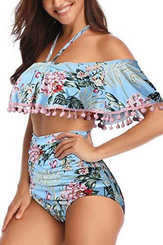 Heat Move Women High Waisted Tassel Flounce Off Shoulder Swimsuit (XXL, Sky -
