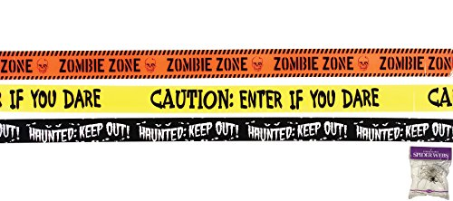 (Potomac Banks Bundle: 4 Items - 1 Black/Haunted Keep Out 1 Yellow/Enter If YoU Dare 1 Orange/Zombie Zone Caution Tape and Free Spider Web (Comes with Free How to Live)