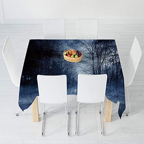 Ghostly Gray Round Table Topper - Waterproof Tablecloth,Halloween,for Dining-Table Tea Table Desk