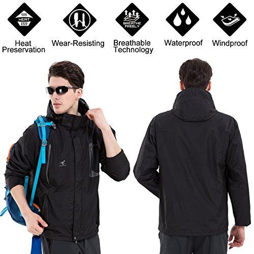 Removable Mens Jackets Black Waterproof in Jacket Sizes Jacket Colours Waterproof Rain with Fleece 5 SEEU Outdoor 3 6 Proof Hood 1 nXP0xqqpfw