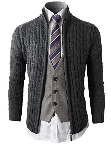 H2H Mens Slim Fit Cardigan Sweaters Long Sleeve Knitted Thermal with Twist  Patterned eade9dfcd