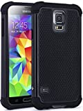 S5 Case, LK [Drop Protection] [Shock-Absorption] Hybrid Dual Layer Armor Defender Protective Case Cover for Samsung Galaxy S5 (Black)