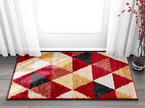 Well Woven Isometry Red & Beige Modern Geometric Triangle Pattern Area Rug Soft Shed Free 20 x 31 (20