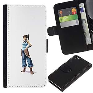 NEECELL GIFT forCITY // Billetera de cuero Caso Cubierta de protección Carcasa / Leather Wallet Case for Apple Iphone 6 // Azul Guerrero chica