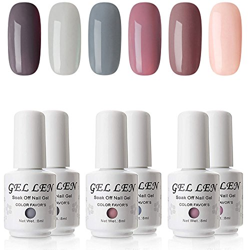 Gellen Gel Polish Set - Nude Gray Series 6 Colors Nail Art Gift Box, Soak Off UV Nail Gel Kit 8ml (Best Gel Nail Kit Reviews)