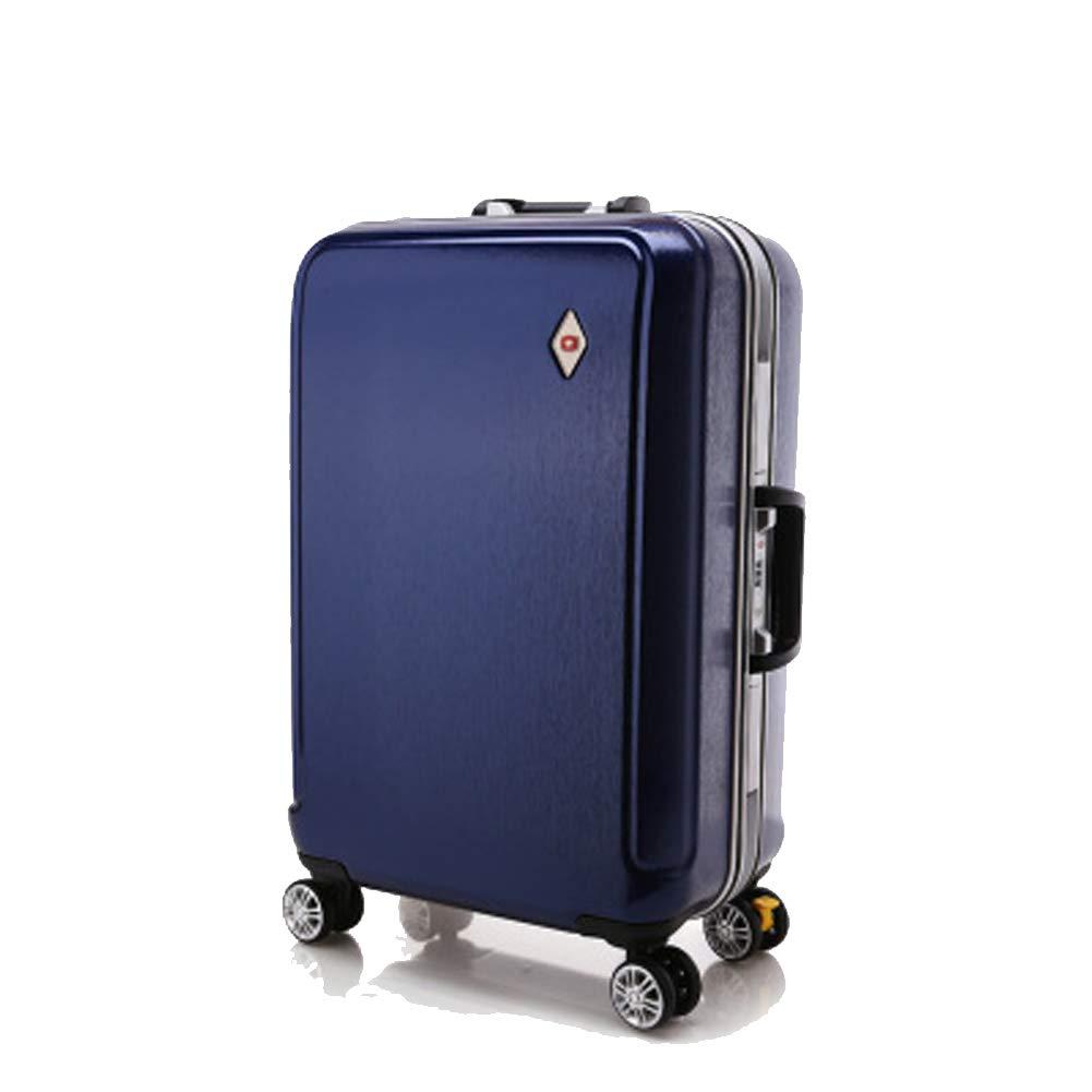アルミフレームトロリーケース、ピュアPCスーツケース、ユニバーサルホイールスーツケース、搭乗バッグ、 Small blue B07QTQ21LD