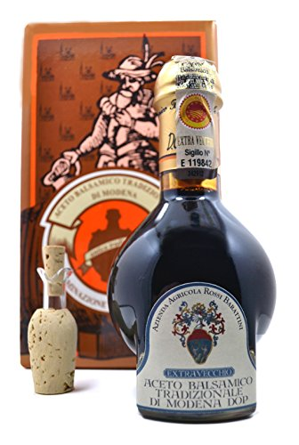 Extra-Vecchio 25 Year Aged Traditional Balsamic Vinegar of Modena 100ml Bottle AND Vecchio Cantalupo 6 Year Aged Balsamic Vinegar of Modena 250ml Bottle-Bundle (2 items) 4 Bundle of 2, Qty of 1, Rossi Barattini 6 Year & Qty of 1, 25 Year Aged Balsamic Vinegar of Modena The Cantalupo Vecchio has a syrupy consistency with a sweet & tart flavor. An inexpensive alternative to the Traditionals. The Extra-Vecchio Traditiona Balsamic Vinegar of Modena is aged for a minimum of 25yrs.