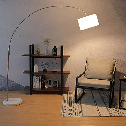 CO-Z Adjustable Arched Floor Lamp with White Natural Marble Base, Satin Nickle Arc/Arching Modern Lighting Fixture with Hanging Fabric Drum Shade, Contemporary Standing Arch Lamp for Living - Floor Marble Lamp Base