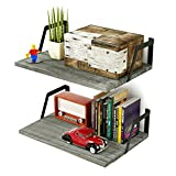 RooLee Floating Shelves Wall Mounted Set of 2 Rustic Wood Shelves Large Capacity(Weathered Grey)