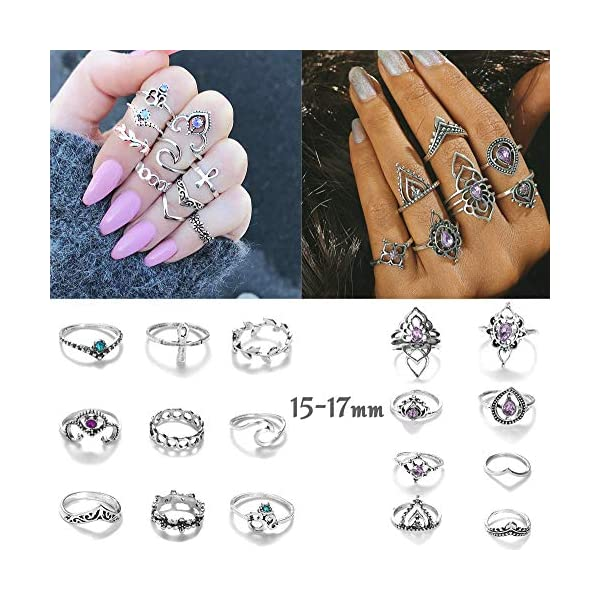 Milacolato 84 PCS Midi Ring Bohemian Knuckle Anello Set Fashion Finger Vintage Argento Anelli Accatastabili per Le Donne Ragazze Knuckle Midi Rings