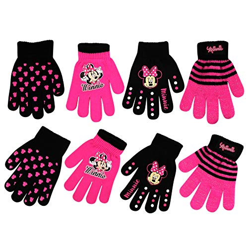 Image of the Disney Assorted Character Designs 4 Pair Gloves or Mittens Cold Weather Set, Little Girls, Age 2-7 (Minnie Mouse - 4 Pair Gloves Design Set)