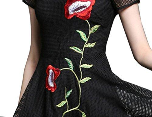 HJMTRY Sra. Mangas cortas hueco bordado era fino delgado vestido de una línea Black