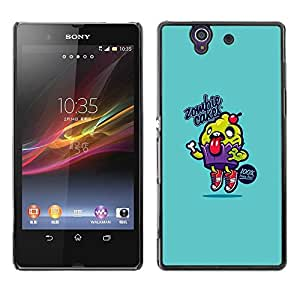 Be Good Phone Accessory // Dura Cáscara cubierta Protectora Caso Carcasa Funda de Protección para Sony Xperia Z L36H C6602 C6603 C6606 C6616 // Blue Cupcake Food Cooking Text
