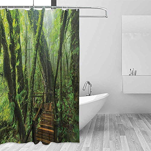 Xlcsomf Durable Shower Curtain Forest Entrance to Deep Dark Evergreen Jungle Magical Surreal Extreme Vivid Plants Jungle Decorated Bathroom Green Brown,W63 xL72