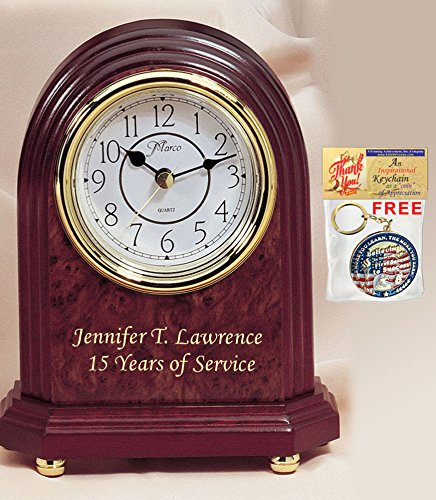 (Etched Personalized Gold Colorfill Text Desk Wood Arch Desk Clock with Golden Foot. Nice Wedding Gift Table Clock, Mantle Clock, Retirement Appreciation Gift and Employee Service Award)