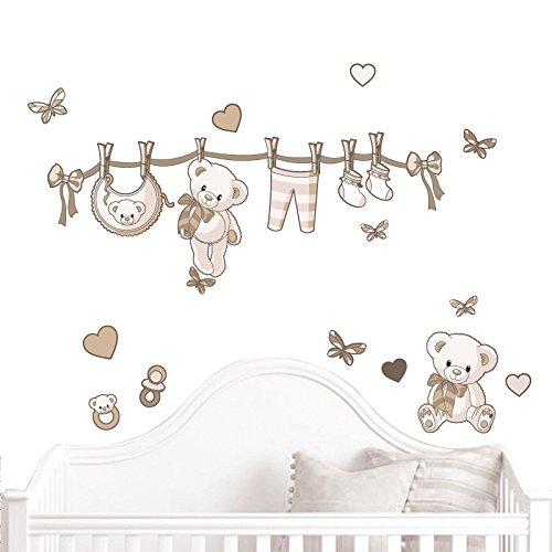 JUJU & COMPAGNIE - Jujubox Beige Teddybären Wandstickers - Full Set von Kinder Wandaufkleber - Babyzimmer Wandtattoos - Maße 50 x 90 cm