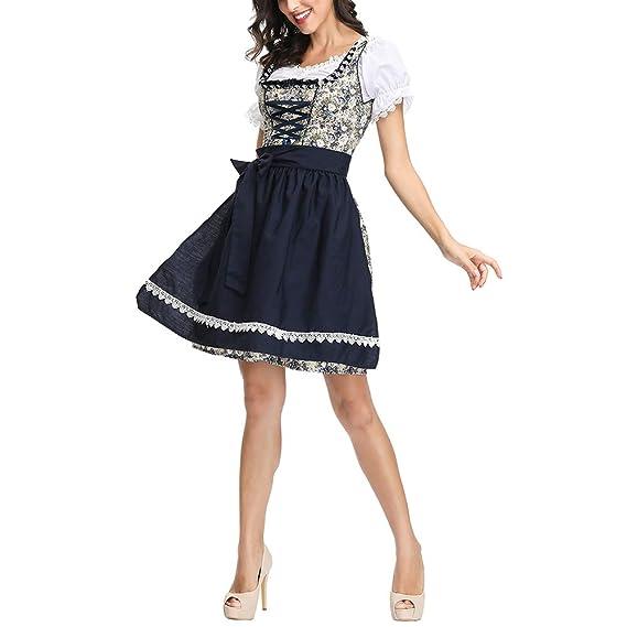Ropa de Oktoberfest, Carnaval bávaro Tradicional Disfraz de Oktoberfest Cerveza bávara Chica Drindl Tavern Maid Dress Vestido Largo para Oktoberfest