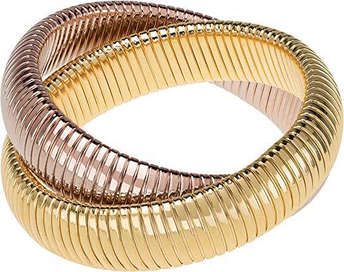 Janis Savitt Double Cobra Bracelet- High Polished Yellow Gold and Rose Gold