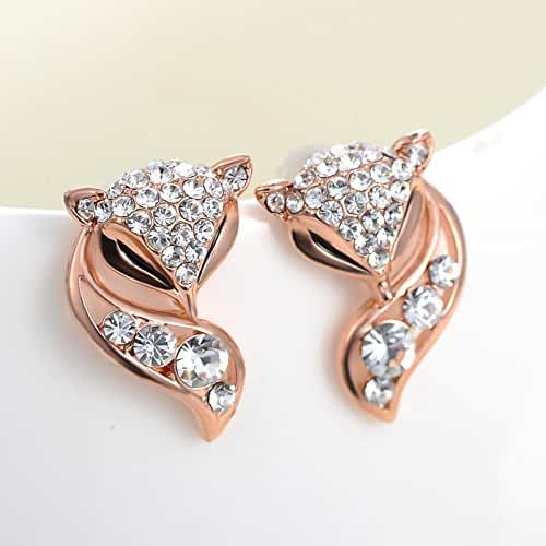 Chokushop High Quality 18K / Rose Gold Plated Crystal Stud Earrings Fox For Women Brincos Fenos KTZ01687