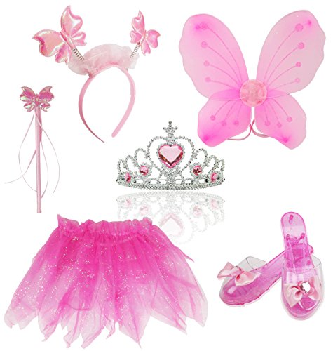 Liberty Imports Little Fairy Princess Dress Up Role Play Costume Set for Girls (6pcs) (Pink)]()
