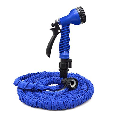 VC-Time Garden Hose - 25 Feet Water Hose , Expandable Garden Hose , with 7-Pattern Free Spray Nozzle ,Collapsible Hose for Easy Home Storage (25 Feet, Blue) (Water Wand O-ring)