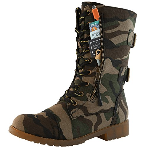 DailyShoes Women's Military Combat Ankle Boots Lace Up Buckle Mid Knee High Exclusive Credit Card Pocket Bootie, Premium Camouflage Cv, 5 B(M) ()