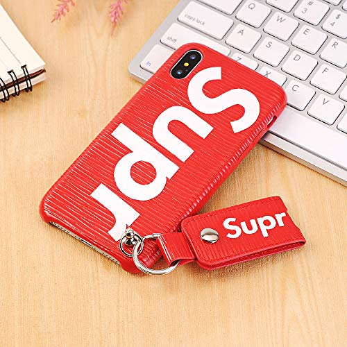 隔離する行動姓iPhone XR ケース、プレミアムTPUケース、耐衝撃性の保護カバー、Apple iPhone XR 用の押された手紙とストラップ (Red)